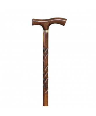 Bastón muletilla de haya tallada con anilla - Ref: 82