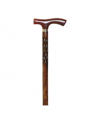 Bastón muletilla de haya tallada y puño concha - Ref: 87