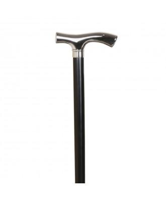 Bastón muletilla de haya color negro con puño niquelado - Ref: 171