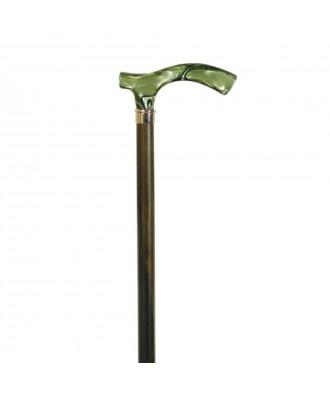 Bastón muletilla de haya verde y puño de metacrilato - Ref: 213