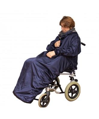 Capa impermeável com mangas e interior macio para cadeira de rodas