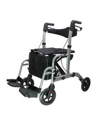 Rollator e cadeira de rodas (2 em 1) dobrável - Ref: A525C