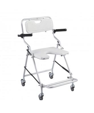 Cadeira com rodas para banho desdobrável de alumínio - Ref: 22981