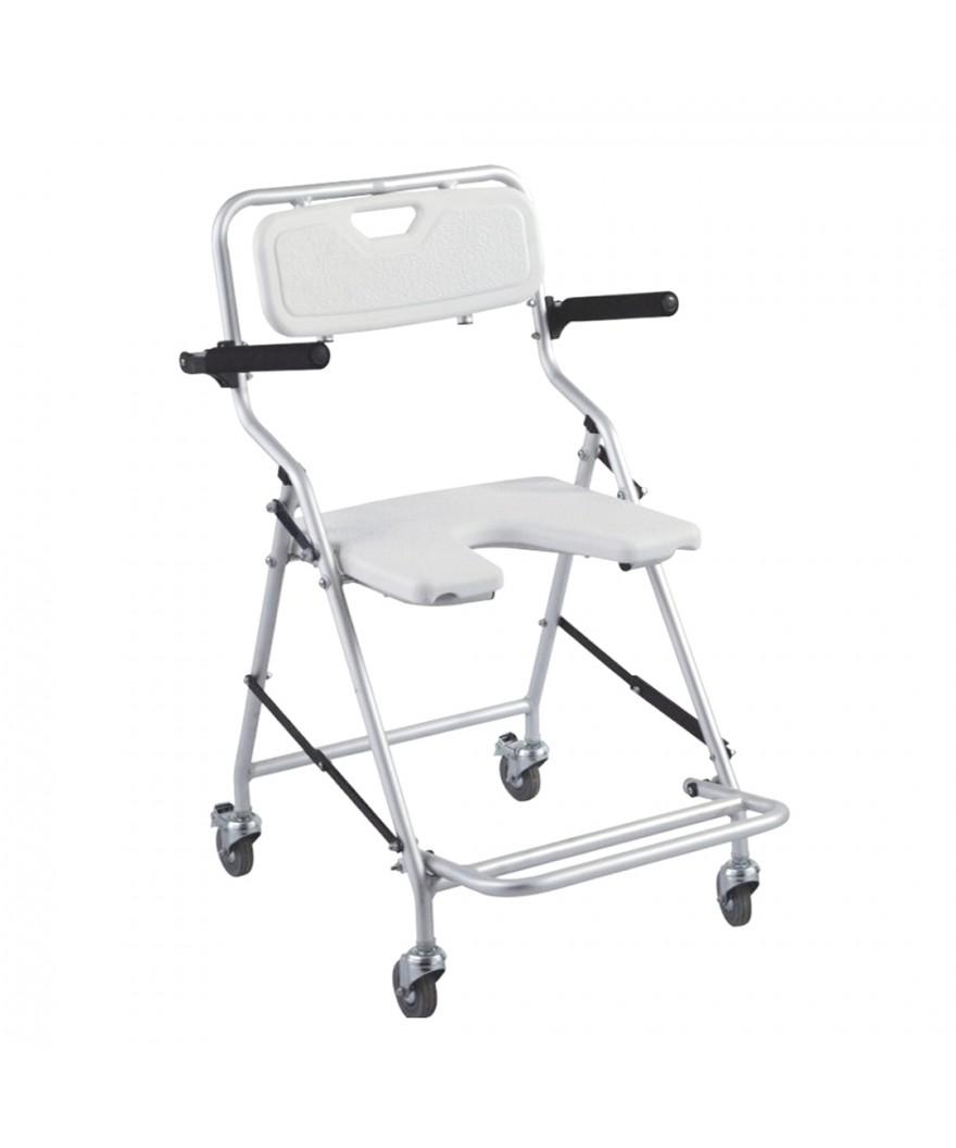 Silla de ducha con ruedas plegable de aluminio - Ref: 22981